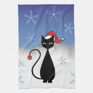 Christmas Cat with Snowflakes Tea Towel