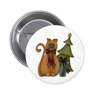 Christmas Cat with Tree 6 Cm Round Badge