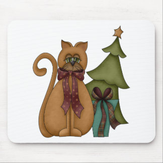 Christmas Cat with Tree Mousepad