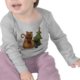 Christmas Cat with Tree Tee Shirts