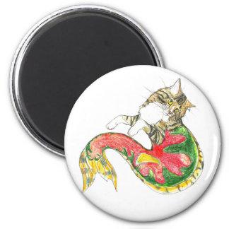 Christmas CatFish (white background) 6 Cm Round Magnet