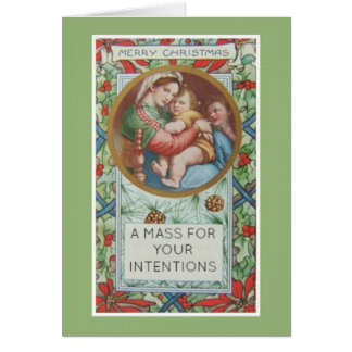 Christmas Catholic Mass Offering Card