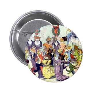Christmas Cats Artwork by Louis Wain 6 Cm Round Badge