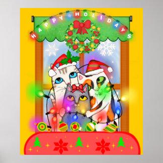 Christmas Cats Hanging Holiday Lights Poster