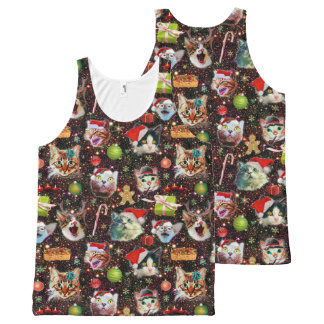 Christmas Cats in Space Galaxy Stars Funny Holiday All-Over Print Tank Top