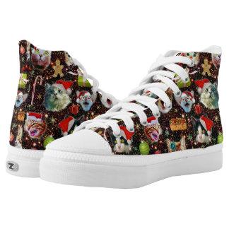 Christmas Cats in Space Galaxy Stars Funny Holiday High Tops