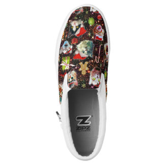 Christmas Cats in Space Galaxy Stars Funny Holiday Slip-On Shoes