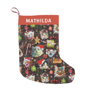 Christmas Cats in Space Galaxy Stars Funny Holiday Small Christmas Stocking