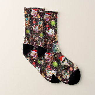 Christmas Cats in Space Galaxy Stars Funny Holiday Socks