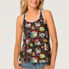 Christmas Cats in Space Galaxy Stars Funny Holiday Tank Top