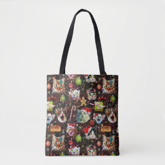 Christmas Cats in Space Galaxy Stars Funny Holiday Tote Bag