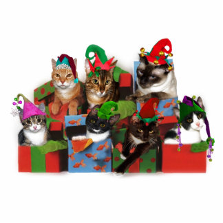 Christmas Cats Standing Photo Sculpture