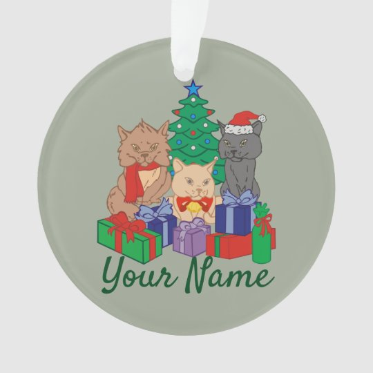 Christmas Cats Tree Presents Personalised Ornament