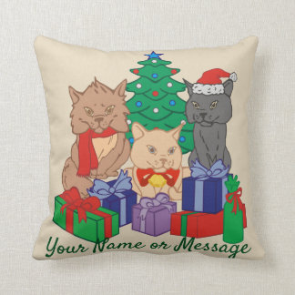 Christmas Cats Tree Presents Personalized Cushion