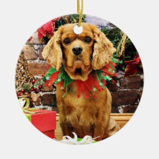 Christmas - Cavalier King Charles Spaniel - Copper Round Ceramic Decoration