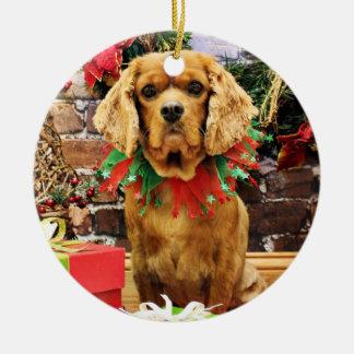 Christmas - Cavalier King Charles Spaniel - Copper Round Ceramic Decoration