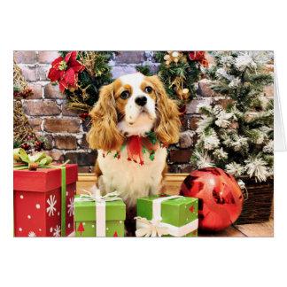 Christmas - Cavalier King Charles Spaniel Maverick Greeting Card