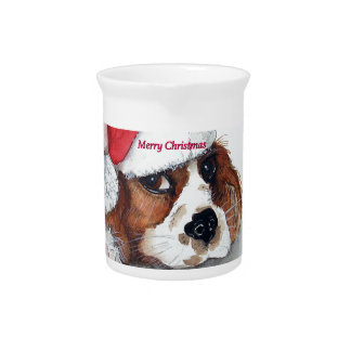 Christmas Cavalier King Charles Spaniel Pitcher