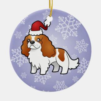 Christmas Cavalier King Charles Spaniel Round Ceramic Decoration