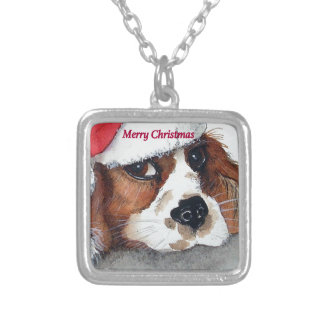 Christmas Cavalier King Charles Spaniel Silver Plated Necklace
