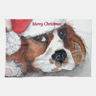 Christmas Cavalier King Charles Spaniel Tea Towel