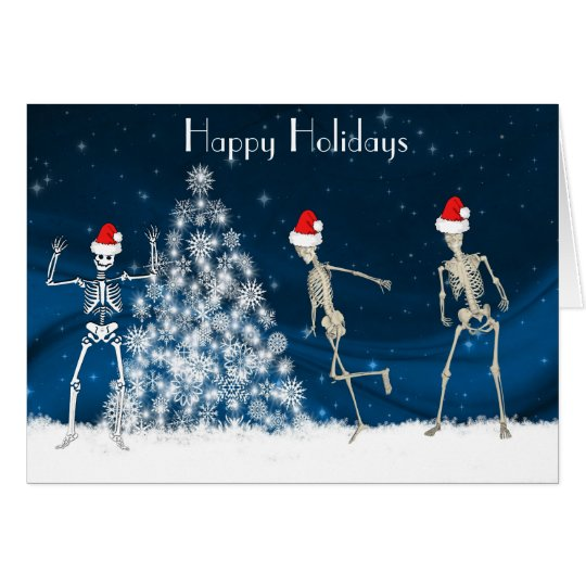 Christmas cavorting skeletons on blue card