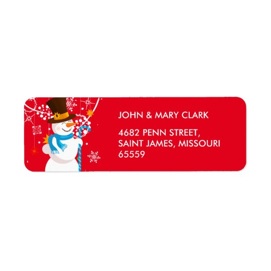 Christmas celebration. Snowman with gifts on red Return Address Label
