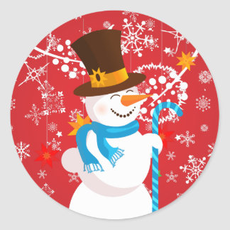 Christmas celebration. Snowman with gifts on red Round Sticker
