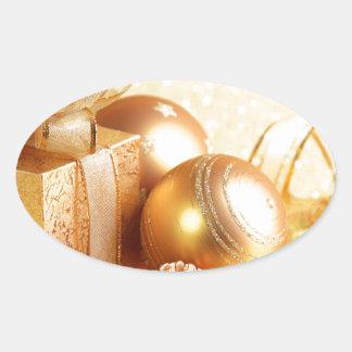 Christmas Celebrations 2 Oval Sticker