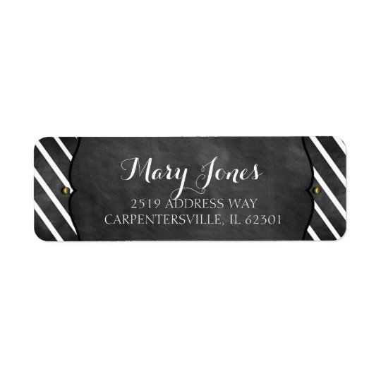Christmas Chalkboard Address Labels with Stripes