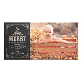 Christmas Chalkboard Baby Announcement Photo Card