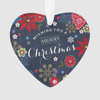 Christmas Chalkboard Custom Photo | Heart Ornament