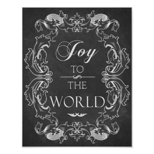 Christmas chalkboard Joy To The World Quote Art Poster