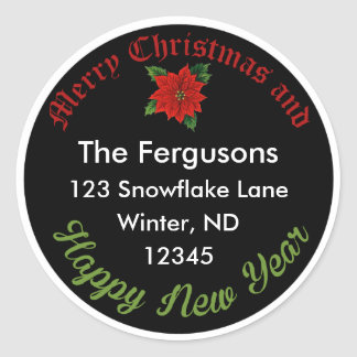 Christmas Chalkboard Poinsettia Address Label