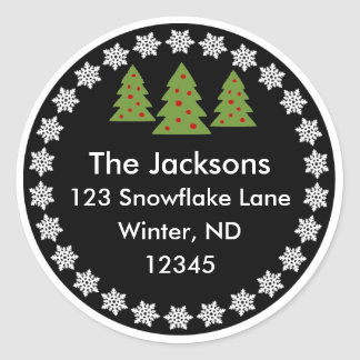 Christmas Chalkboard Snowflake Tree Address Label