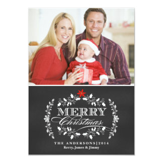 Christmas Chalkboard Typography Holly Photo Card 11 Cm X 16 Cm Invitation Card
