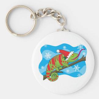 Christmas Chameleon Basic Round Button Key Ring