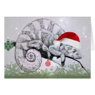 Christmas Chameleon in a Santa Hat Card