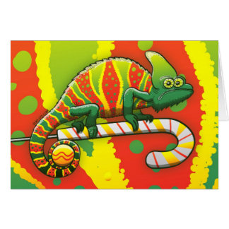 Christmas Chameleon Walking on a Candy Cane Card