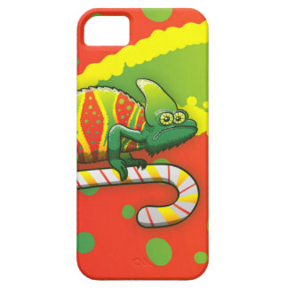 Christmas Chameleon Walking on a Candy Cane iPhone 5/5S Cases
