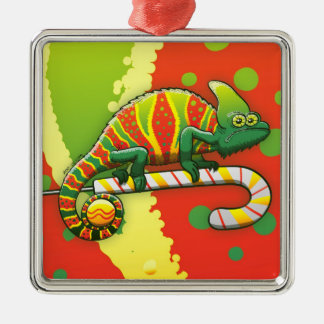 Christmas Chameleon Walking on a Candy Cane Christmas Ornament