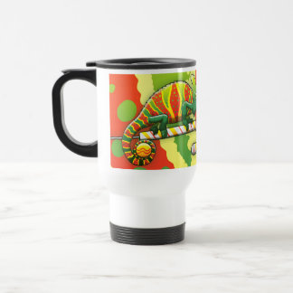 Christmas Chameleon Walking on a Candy Cane Stainless Steel Travel Mug
