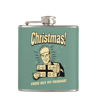 Christmas: Check Out My Package Hip Flask