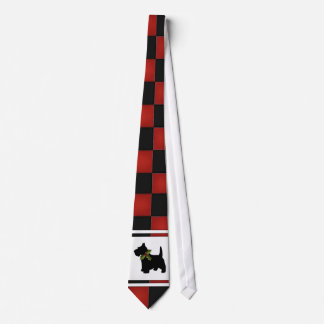Christmas Checks with Scottie Dog Pattern Tie