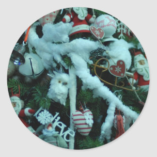 Christmas cheer decoration tree round sticker