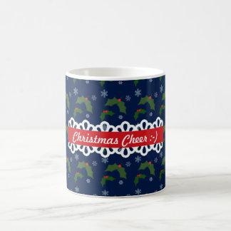Christmas Cheer Holly Berries Pattern Coffee Mug