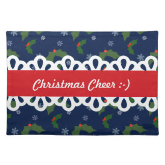 Christmas Cheer Holly Berries Pattern Placemat