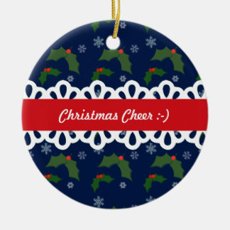 Christmas Cheer Holly Berries Pattern Round Ceramic Decoration
