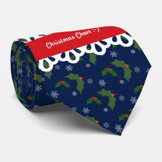 Christmas Cheer Holly Berries Pattern Tie