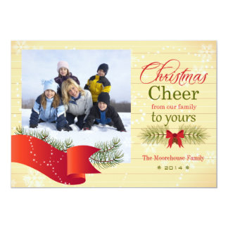 Christmas cheer pine bough holiday photo card 13 cm x 18 cm invitation card